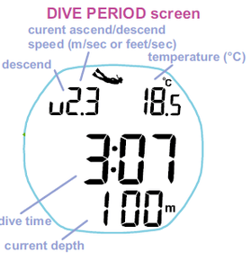 Seac Watch Dive Mode Screen